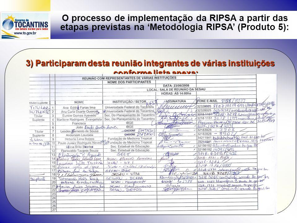 O processo de implementação da RIPSA a partir das etapas previstas na Metodologia RIPSA (Produto 5): 4) Principais pontos do documento básico e do termo de referência elaborados: DOCUMENTO BÁSICO DA RIPSA I – ANTECEDENTES: II - PROPÓSITOS, OBJETIVOS E ESTRATÉGIAS DE AÇÃO: Em consonância com a RIPSA Nacional, os objetivos da RIPSA no Estado do Tocantins são: a)qualificar a informação em saúde por meio de fluxos, fóruns de articulação e mobilização buscando a melhoria da coleta de dados no Estado e municípios; b)promover a adesão e sensibilização dos secretários municipais de saúde e prefeitos para compreensão da importância e relevância da informação para a gestão; c)promover a capacidade técnica das equipes de informação e informática em saúde num processo permanente; d)fortalecer a intersetorialidade na gestão da saúde; e)qualificar a gestão estadual e municipal da informação e informática em saúde,