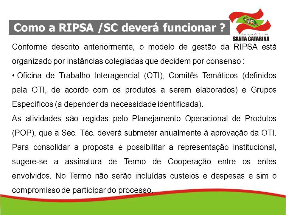 Como a RIPSA /SC deverá funcionar ? Conforme descrito anteriormente, o modelo de gestão da RIPSA está organizado por instâncias colegiadas que decidem
