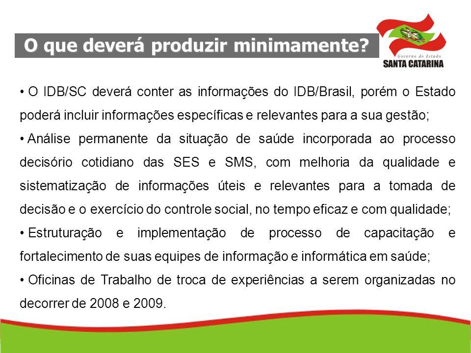 O que deverá produzir minimamente? O IDB/SC deverá conter as informações do IDB/Brasil, porém o Estado poderá incluir informações específicas e releva