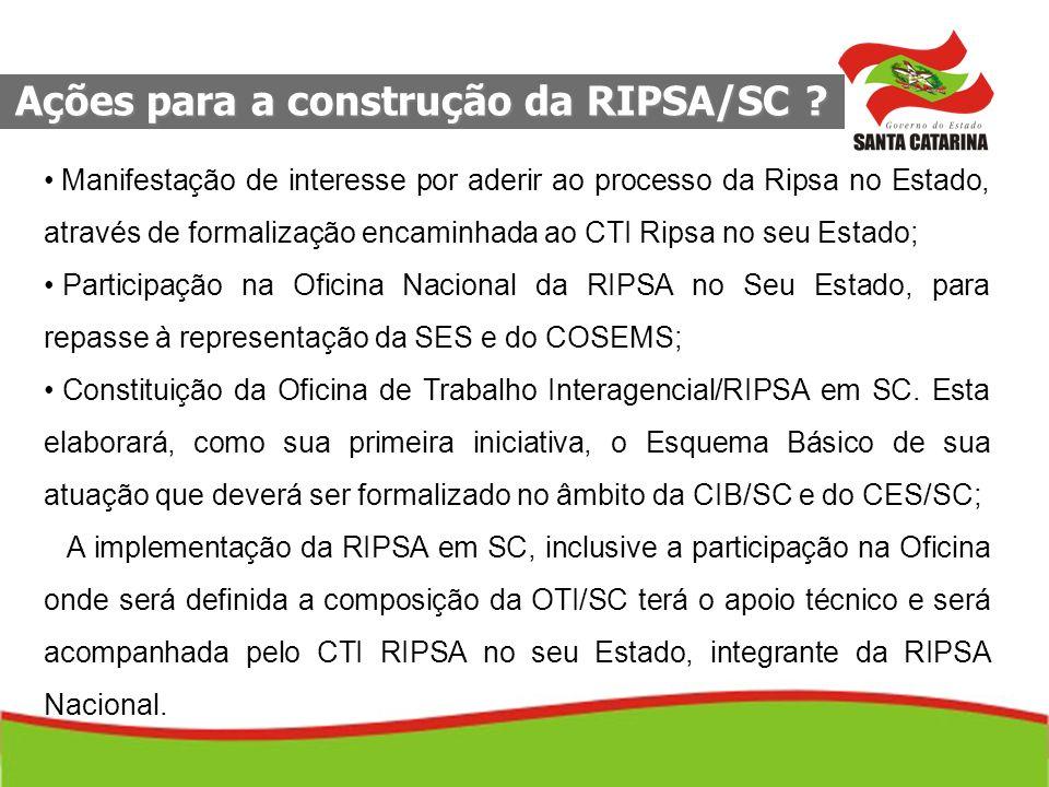 Ações para a construção da RIPSA/SC ? Manifestação de interesse por aderir ao processo da Ripsa no Estado, através de formalização encaminhada ao CTI