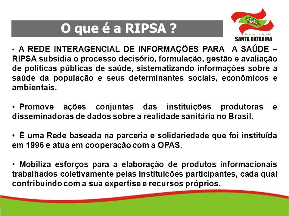 O que é a RIPSA ? O que é a RIPSA ? A REDE INTERAGENCIAL DE INFORMAÇÕES PARA A SAÚDE – RIPSA subsidia o processo decisório, formulação, gestão e avali
