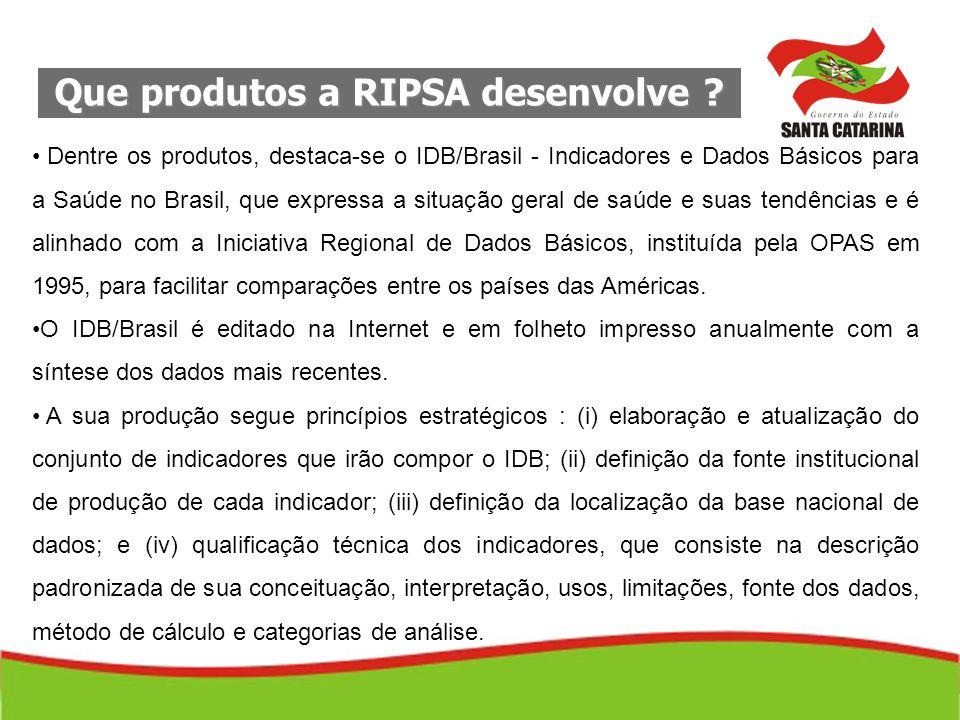 Que produtos a RIPSA desenvolve ? Dentre os produtos, destaca-se o IDB/Brasil - Indicadores e Dados Básicos para a Saúde no Brasil, que expressa a sit