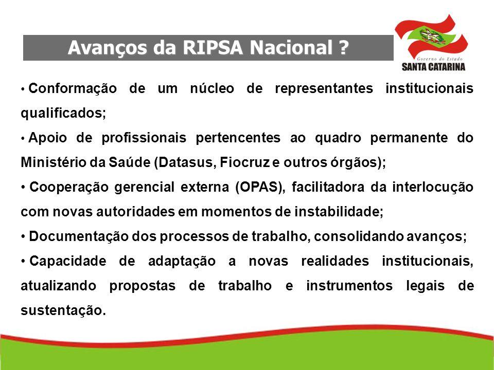 Avanços da RIPSA Nacional ? Conformação de um núcleo de representantes institucionais qualificados; Apoio de profissionais pertencentes ao quadro perm