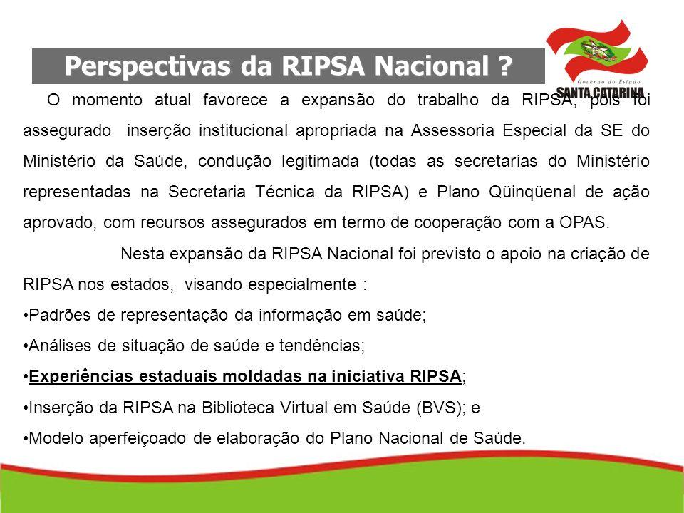 Perspectivas da RIPSA Nacional ? O momento atual favorece a expansão do trabalho da RIPSA, pois foi assegurado inserção institucional apropriada na As