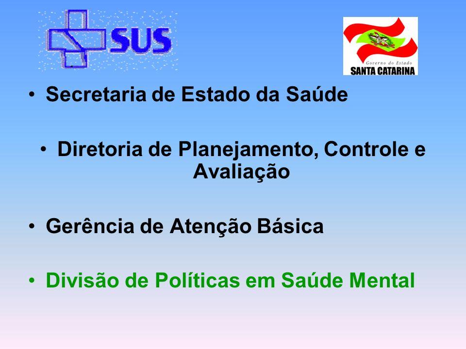 Secretaria de Estado da Saúde Diretoria de Planejamento, Controle e Avaliação Gerência de Atenção Básica Divisão de Políticas em Saúde Mental