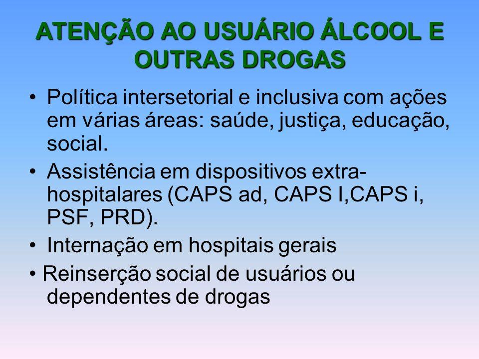 ATENÇÃO AO USUÁRIO ÁLCOOL E OUTRAS DROGAS Política intersetorial e inclusiva com ações em várias áreas: saúde, justiça, educação, social. Assistência