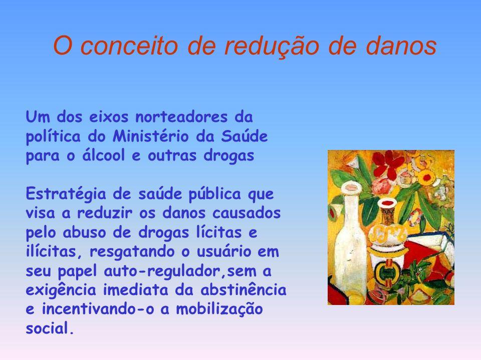 O conceito de redução de danos Um dos eixos norteadores da política do Ministério da Saúde para o álcool e outras drogas Estratégia de saúde pública q
