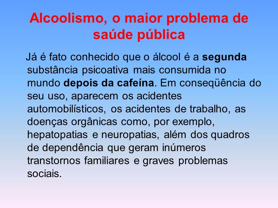 Alcoolismo, o maior problema de saúde pública Já é fato conhecido que o álcool é a segunda substância psicoativa mais consumida no mundo depois da caf