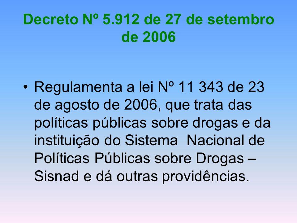 Decreto Nº 5.912 de 27 de setembro de 2006 Regulamenta a lei Nº 11 343 de 23 de agosto de 2006, que trata das políticas públicas sobre drogas e da ins