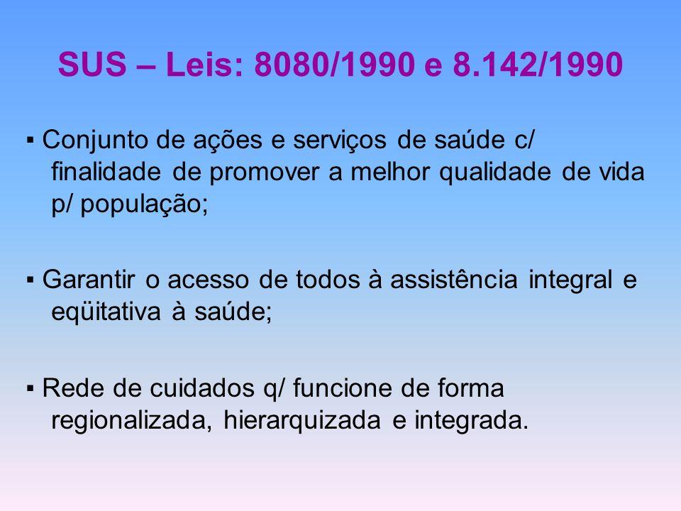 SUS – Leis: 8080/1990 e 8.142/1990 Conjunto de ações e serviços de saúde c/ finalidade de promover a melhor qualidade de vida p/ população; Garantir o