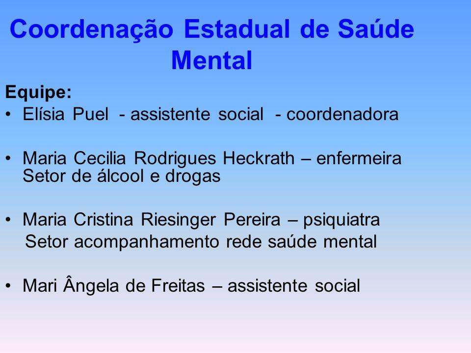 Coordenação Estadual de Saúde Mental Equipe: Elísia Puel - assistente social - coordenadora Maria Cecilia Rodrigues Heckrath – enfermeira Setor de álc