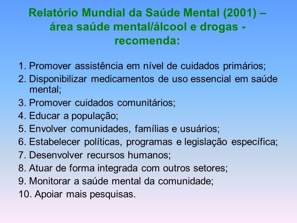Relatório Mundial da Saúde Mental (2001) – área saúde mental/álcool e drogas - recomenda: 1. Promover assistência em nível de cuidados primários; 2. D