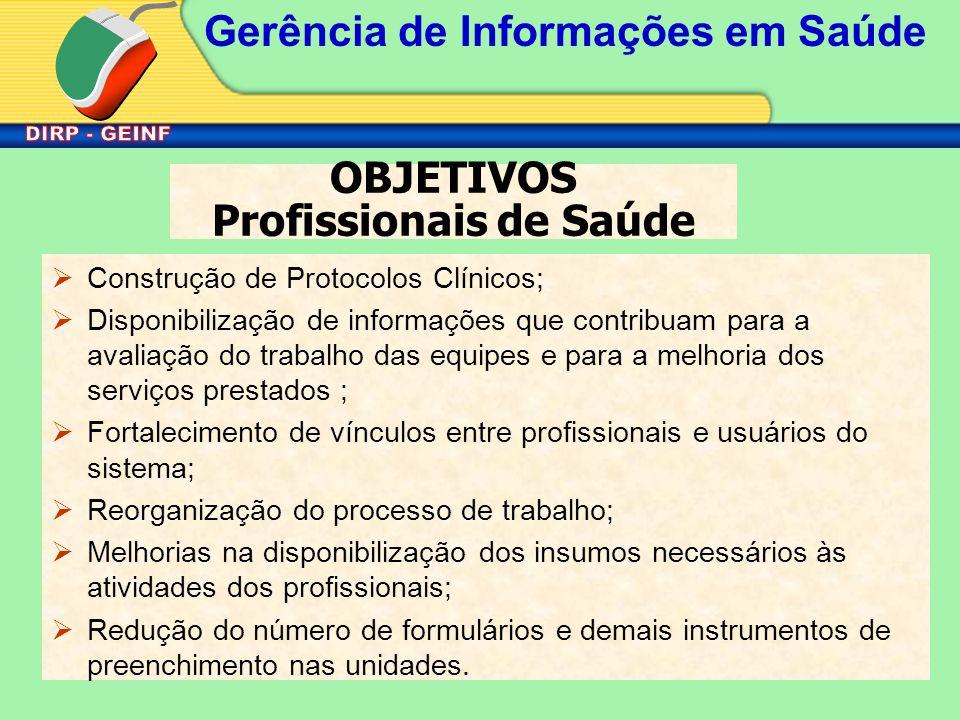 Gerência de Informações em Saúde OBJETIVOS Profissionais de Saúde Construção de Protocolos Clínicos; Disponibilização de informações que contribuam pa