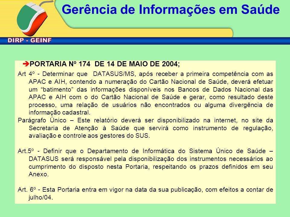 Gerência de Informações em Saúde Art 4º - Determinar que DATASUS/MS, após receber a primeira competência com as APAC e AIH, contendo a numeração do Ca