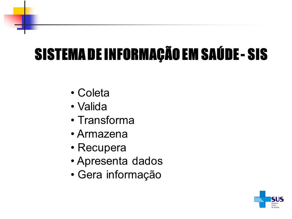 SISTEMA DE INFORMAÇÃO EM SAÚDE - SIS Coleta Valida Transforma Armazena Recupera Apresenta dados Gera informação