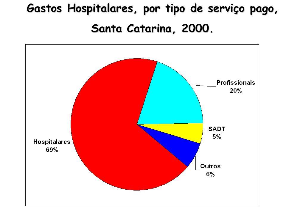 Gastos Hospitalares, por tipo de serviço pago, Santa Catarina, 2000.