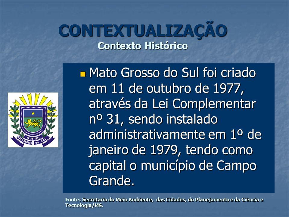 CONTEXTUALIZAÇÃO Contexto Histórico Mato Grosso do Sul foi criado em 11 de outubro de 1977, através da Lei Complementar nº 31, sendo instalado adminis
