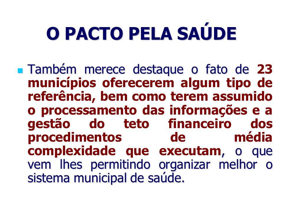 O PACTO PELA SAÚDE Também merece destaque o fato de, o que vem lhes permitindo organizar melhor o sistema municipal de saúde. Também merece destaque o