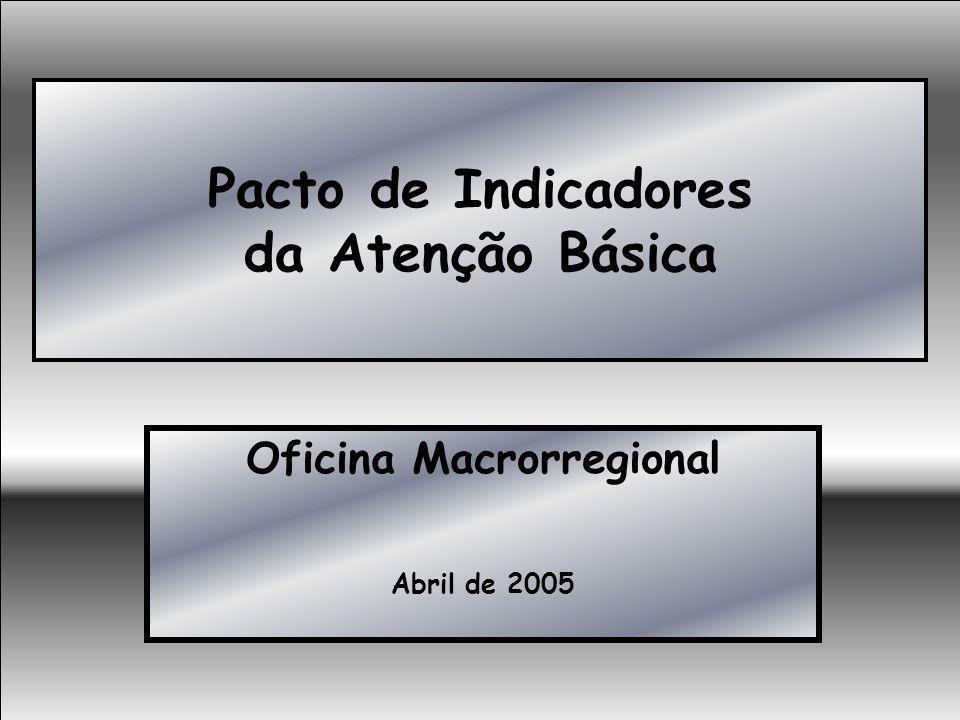 Pacto de Indicadores da Atenção Básica Oficina Macrorregional Abril de 2005