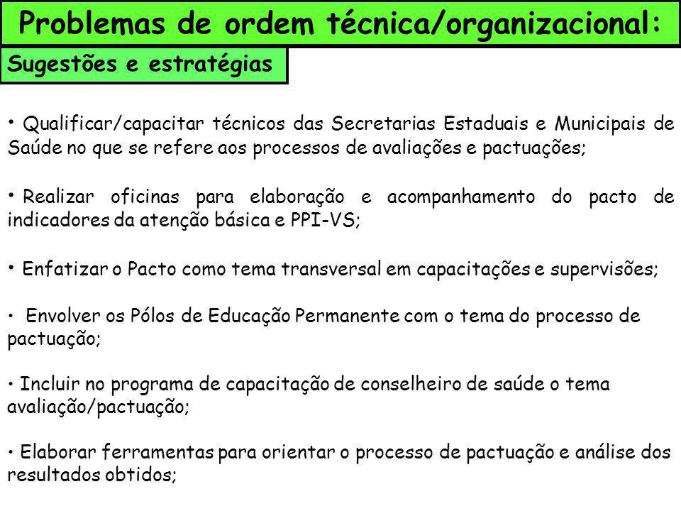 Sugestões e estratégias Qualificar/capacitar técnicos das Secretarias Estaduais e Municipais de Saúde no que se refere aos processos de avaliações e p