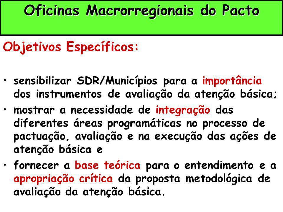 Oficinas Macrorregionais do Pacto Oficinas Macrorregionais do Pacto Objetivos Específicos: sensibilizar SDR/Municípios para a importância dos instrume