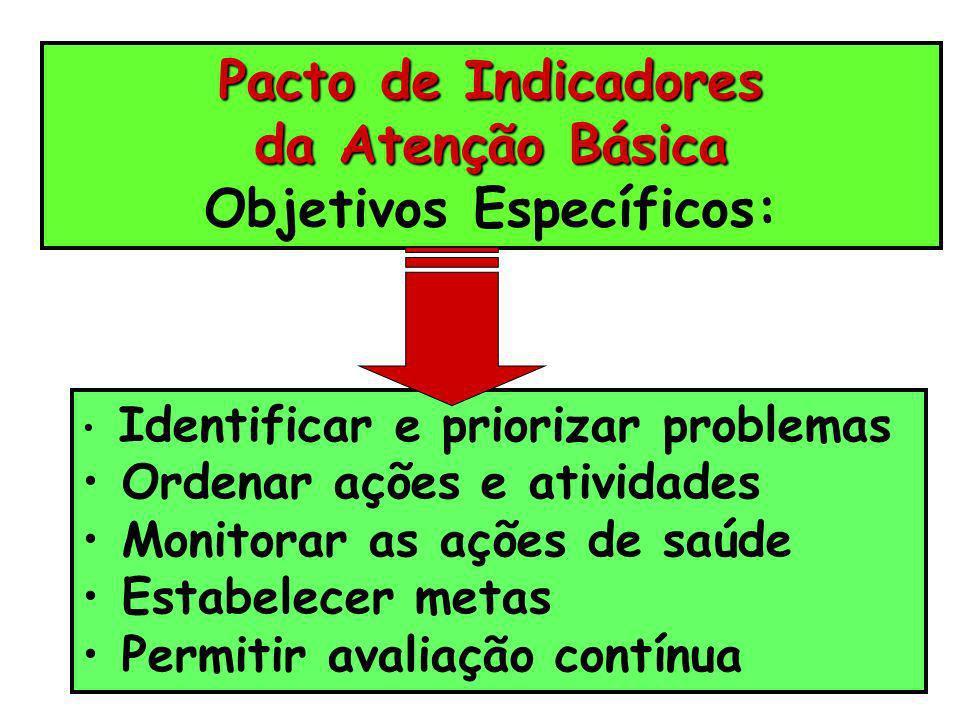 Pacto de Indicadores da Atenção Básica Objetivos Específicos: Identificar e priorizar problemas Ordenar ações e atividades Monitorar as ações de saúde