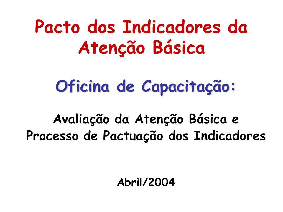 Pacto dos Indicadores da Atenção Básica Oficina de Capacitação: Avaliação da Atenção Básica e Processo de Pactuação dos Indicadores Abril/2004