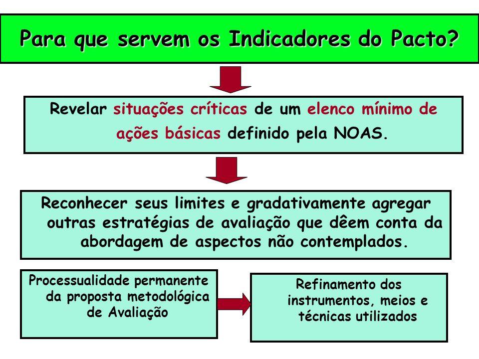 Para que servem os Indicadores do Pacto? Revelar situações críticas de um elenco mínimo de ações básicas definido pela NOAS. Reconhecer seus limites e