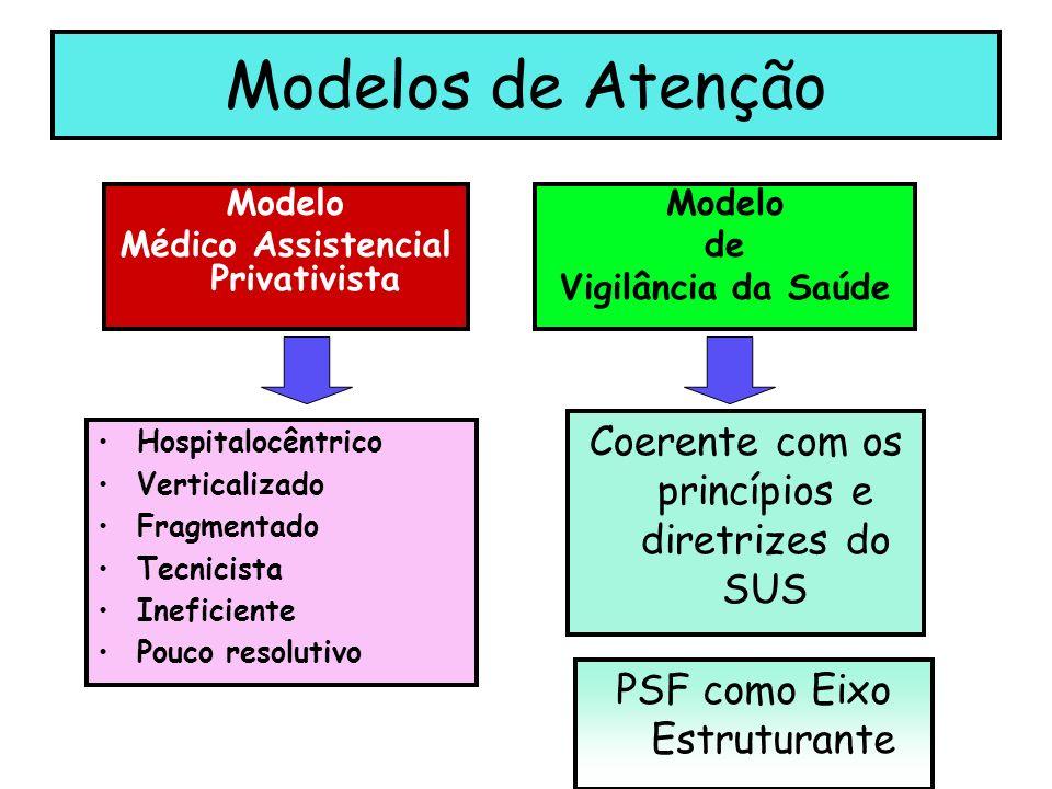Modelos de Atenção Modelo Médico Assistencial Privativista Modelo de Vigilância da Saúde Hospitalocêntrico Verticalizado Fragmentado Tecnicista Ineficiente Pouco resolutivo Coerente com os princípios e diretrizes do SUS PSF como Eixo Estruturante
