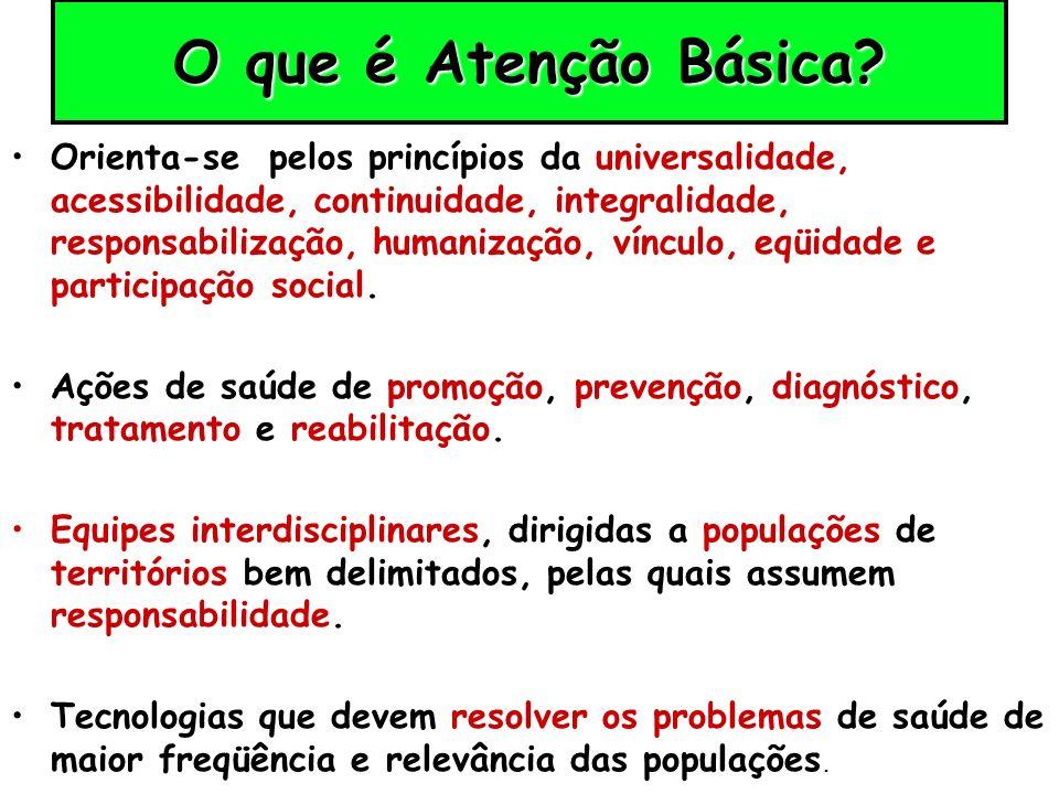 O que é Atenção Básica? Orienta-se pelos princípios da universalidade, acessibilidade, continuidade, integralidade, responsabilização, humanização, ví