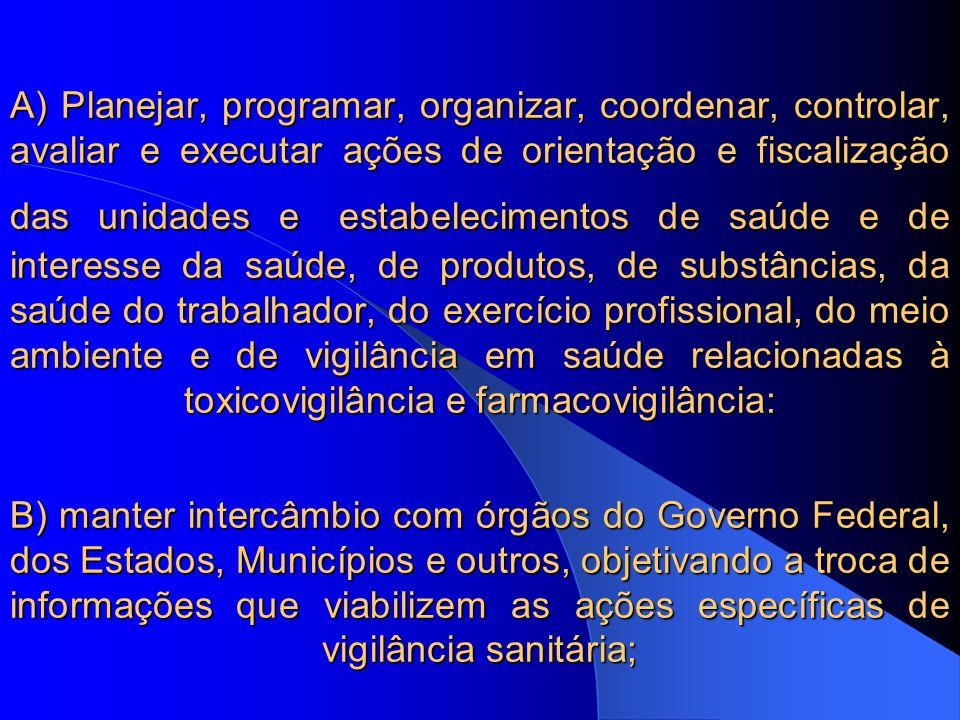C) articular-se com órgãos de segurança pública, objetivando atuação conjunta para a execução de ações de.fiscalização; D) processar e julgar em 1ª instância, os autos de procedimentos administrativos instaurados, para apuração de infrações sanitárias, na forma da legislação, lavrados pelos servidores lotados ou em exercícionaSDR; E) coordenar e controlar o registro de antecedentes relativosàvigilânciasanitária; C) articular-se com órgãos de segurança pública, objetivando atuação conjunta para a execução de ações de.fiscalização; D) processar e julgar em 1ª instância, os autos de procedimentos administrativos instaurados, para apuração de infrações sanitárias, na forma da legislação, lavrados pelos servidores lotados ou em exercício.na.SDR; E) coordenar e controlar o registro de antecedentes relativos.à.vigilância.sanitária;