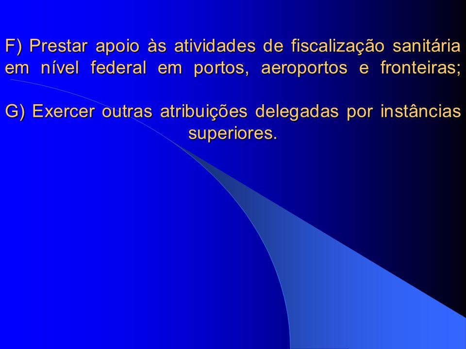 F) Prestar apoio às atividades de fiscalização sanitária em nível federal em portos, aeroportos e fronteiras; G) Exercer outras atribuições delegadas