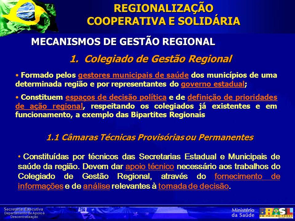 Secretaria Executiva Departamento de Apoio à Descentralização MECANISMOS DE GESTÃO REGIONAL REGIONALIZAÇÃO COOPERATIVA E SOLIDÁRIA Formado pelos gesto