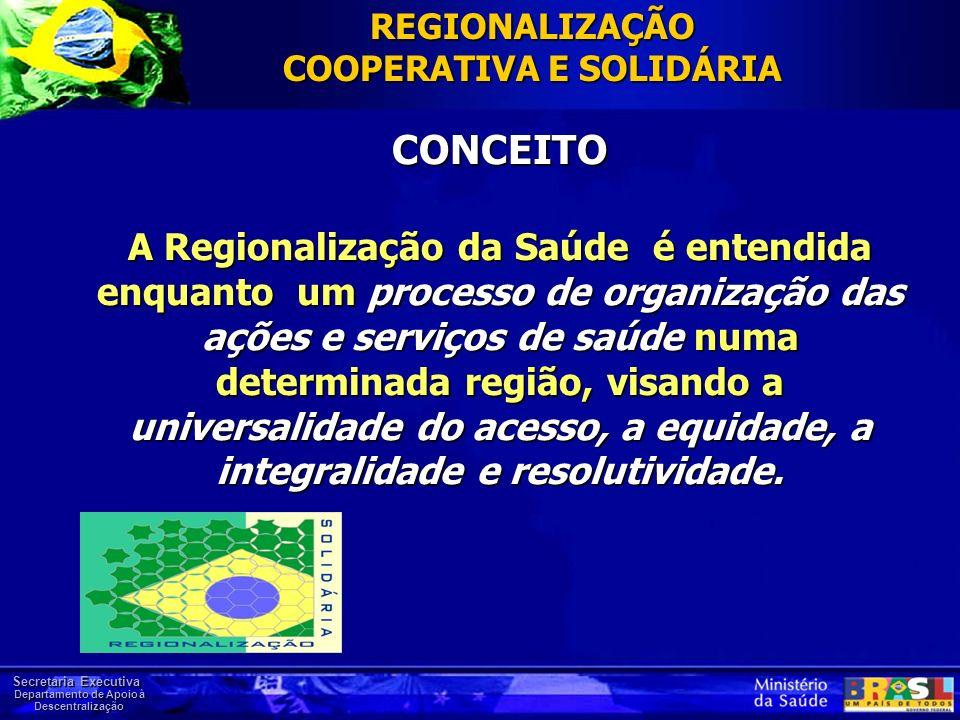 Secretaria Executiva Departamento de Apoio à Descentralização CONCEITO A Regionalização da Saúde é entendida enquanto um processo de organização das a