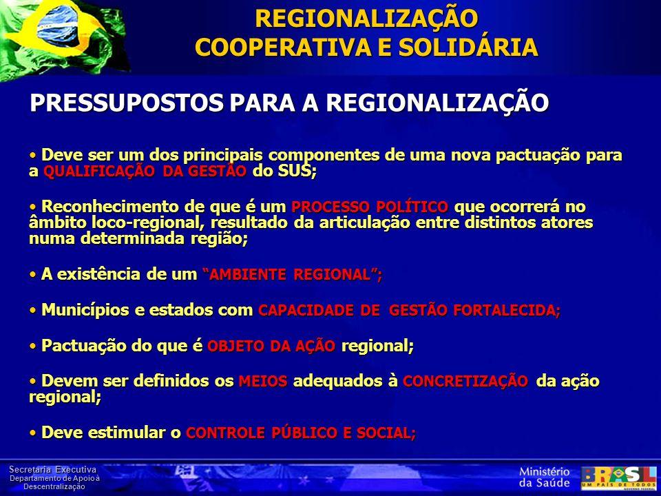 Secretaria Executiva Departamento de Apoio à Descentralização PRESSUPOSTOS PARA A REGIONALIZAÇÃO Deve ser um dos principais componentes de uma nova pa