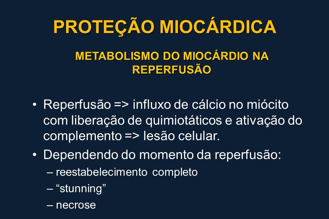 METABOLISMO DO MIOCÁRDIO NA REPERFUSÃO Reperfusão => influxo de cálcio no miócito com liberação de quimiotáticos e ativação do complemento => lesão ce