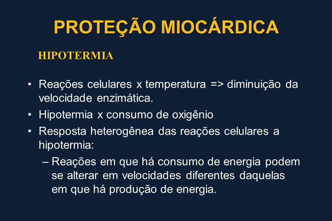 HIPOTERMIA Reações celulares x temperatura => diminuição da velocidade enzimática. Hipotermia x consumo de oxigênio Resposta heterogênea das reações c