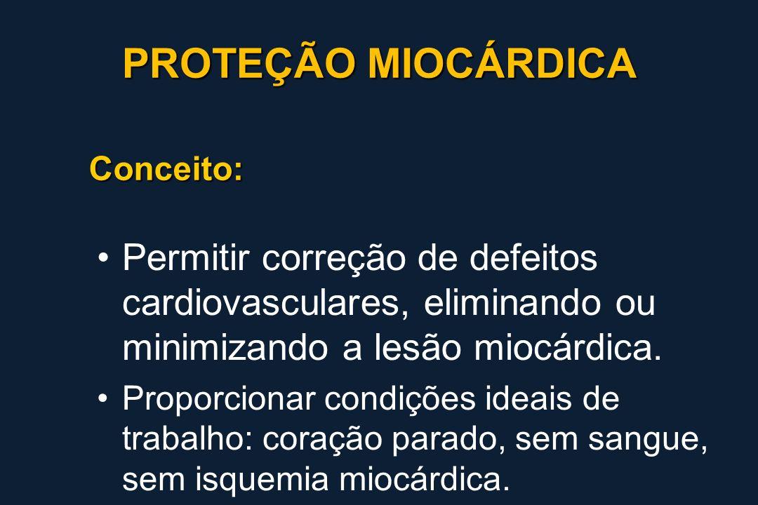 Conceito: Permitir correção de defeitos cardiovasculares, eliminando ou minimizando a lesão miocárdica. Proporcionar condições ideais de trabalho: cor