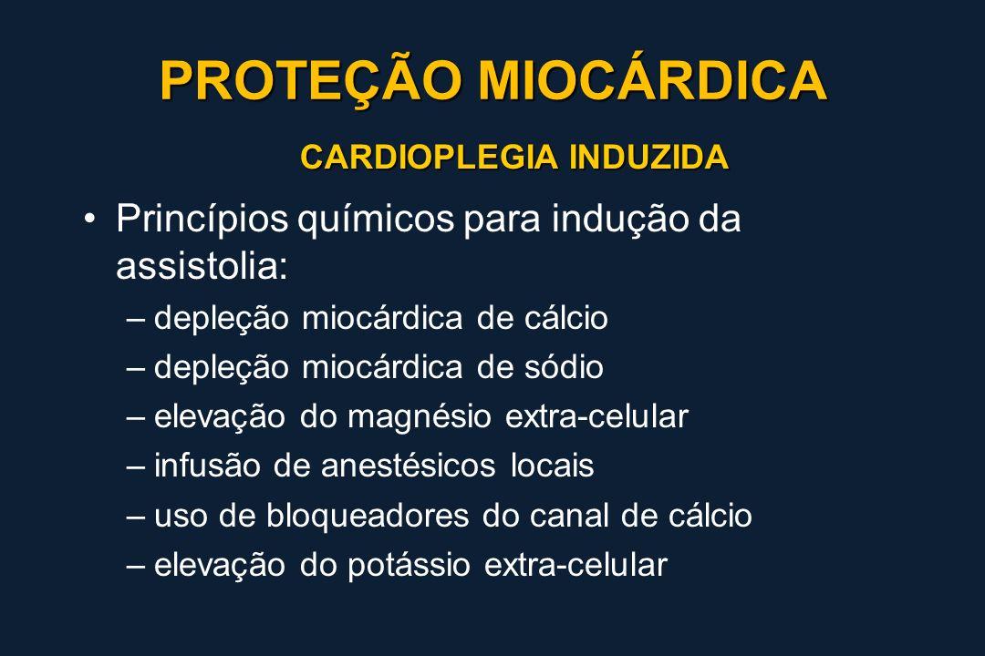 CARDIOPLEGIA INDUZIDA Princípios químicos para indução da assistolia: –depleção miocárdica de cálcio –depleção miocárdica de sódio –elevação do magnés