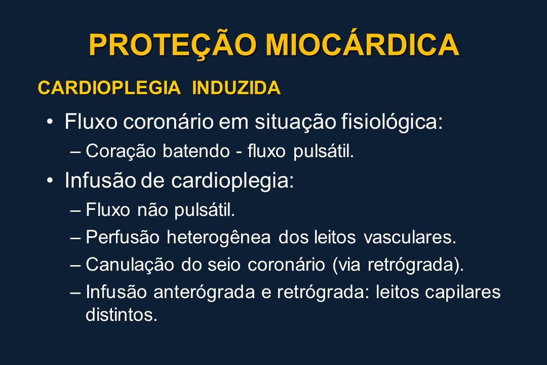 CARDIOPLEGIA INDUZIDA Fluxo coronário em situação fisiológica: –Coração batendo - fluxo pulsátil. Infusão de cardioplegia: –Fluxo não pulsátil. –Perfu