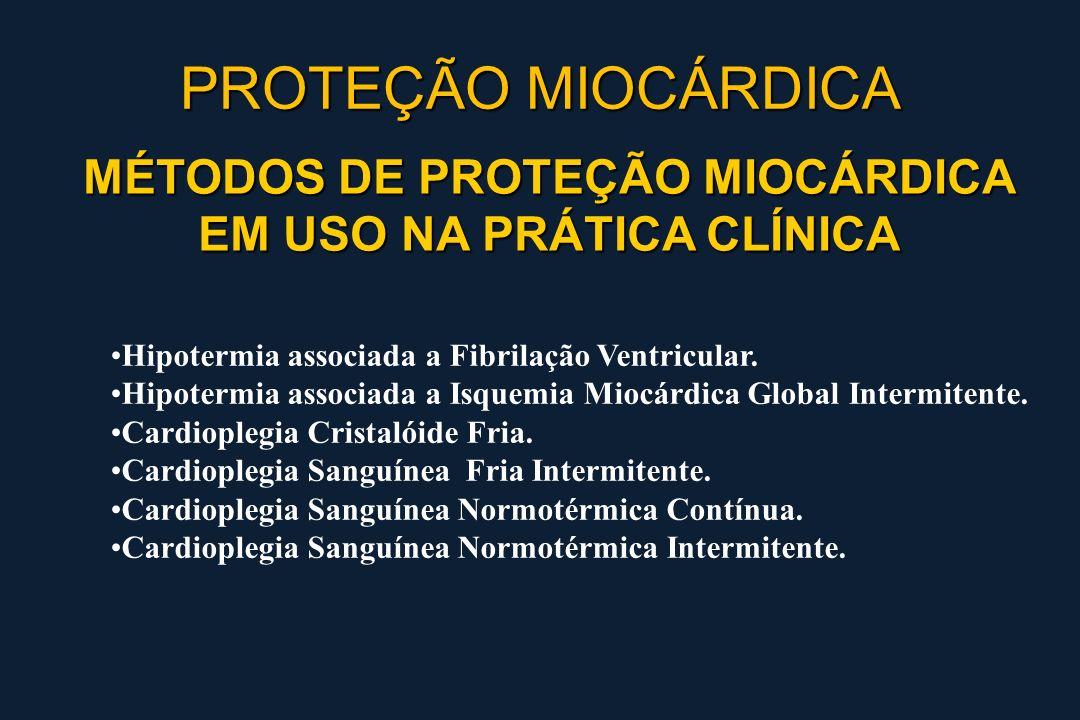 MÉTODOS DE PROTEÇÃO MIOCÁRDICA EM USO NA PRÁTICA CLÍNICA Hipotermia associada a Fibrilação Ventricular. Hipotermia associada a Isquemia Miocárdica Glo