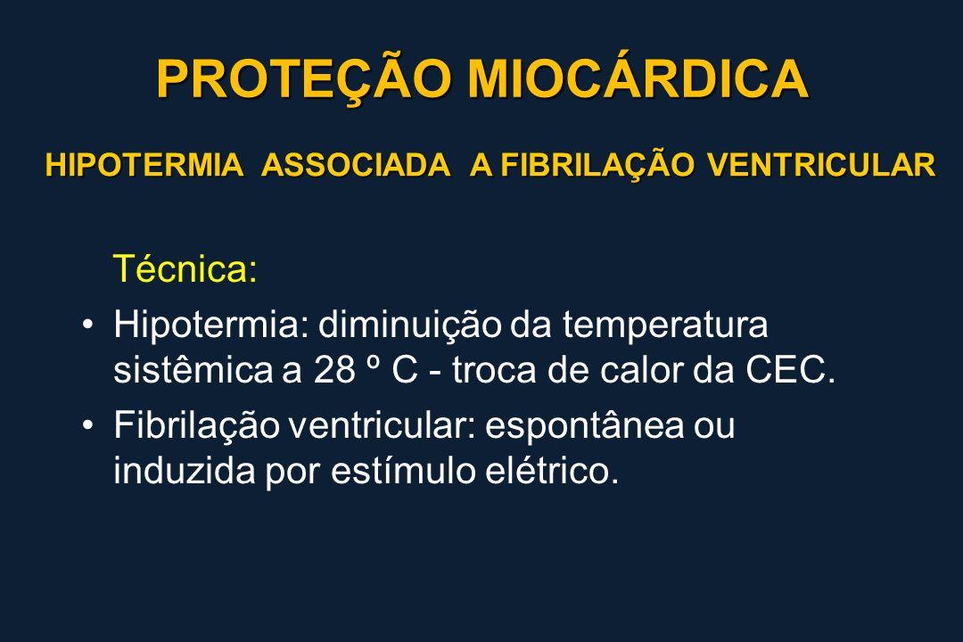 HIPOTERMIA ASSOCIADA A FIBRILAÇÃO VENTRICULAR Técnica: Hipotermia: diminuição da temperatura sistêmica a 28 º C - troca de calor da CEC. Fibrilação ve