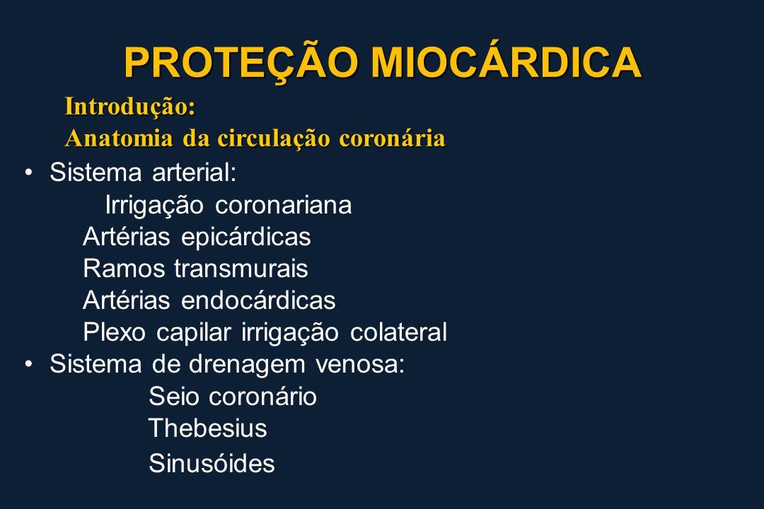 Introdução: Anatomia da circulação coronária Sistema arterial: Irrigação coronariana Artérias epicárdicas Ramos transmurais Artérias endocárdicas Plex