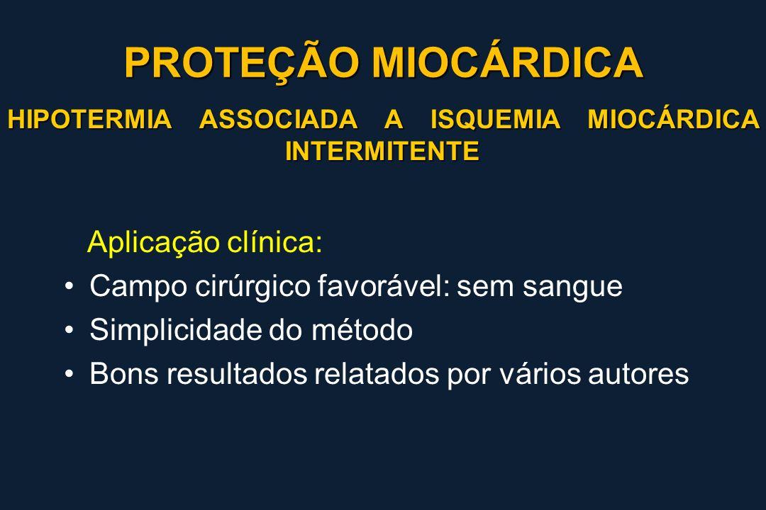 HIPOTERMIA ASSOCIADA A ISQUEMIA MIOCÁRDICA INTERMITENTE Aplicação clínica: Campo cirúrgico favorável: sem sangue Simplicidade do método Bons resultado
