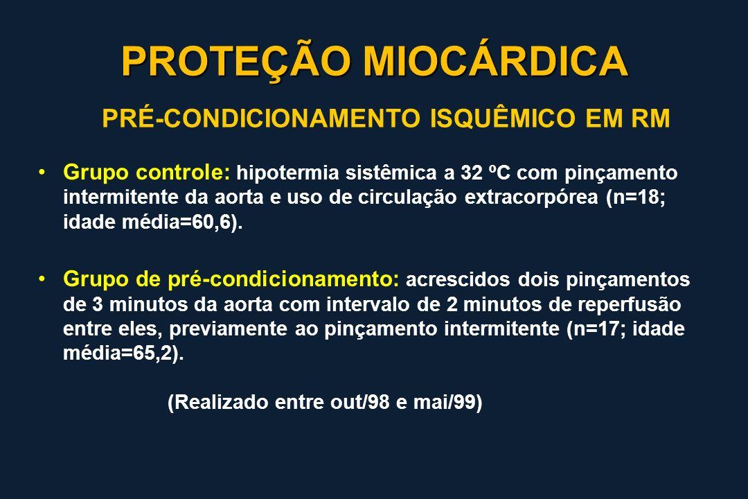 Grupo controle: hipotermia sistêmica a 32 ºC com pinçamento intermitente da aorta e uso de circulação extracorpórea (n=18; idade média=60,6). Grupo de