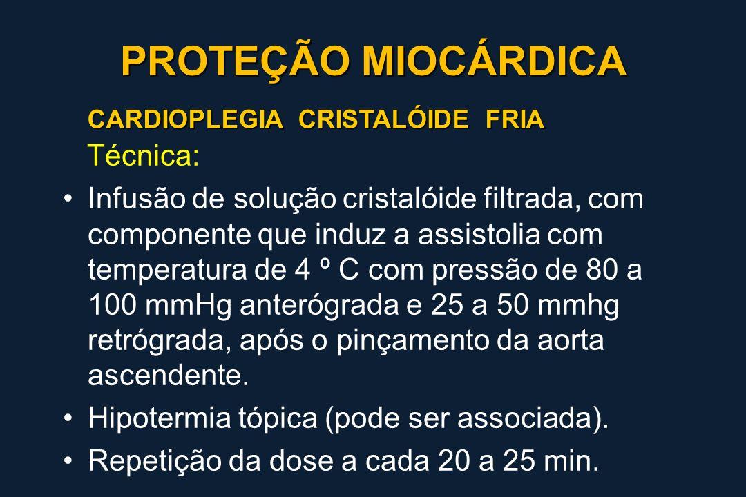 CARDIOPLEGIA CRISTALÓIDE FRIA Técnica: Infusão de solução cristalóide filtrada, com componente que induz a assistolia com temperatura de 4 º C com pre