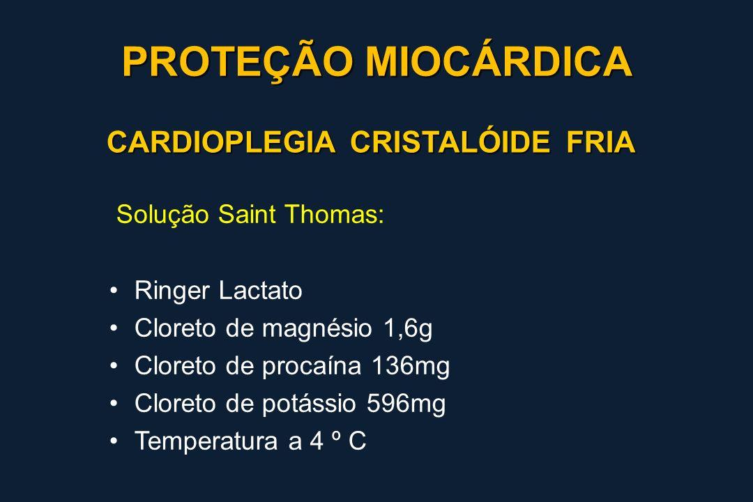 CARDIOPLEGIA CRISTALÓIDE FRIA Solução Saint Thomas: Ringer Lactato Cloreto de magnésio 1,6g Cloreto de procaína 136mg Cloreto de potássio 596mg Temper