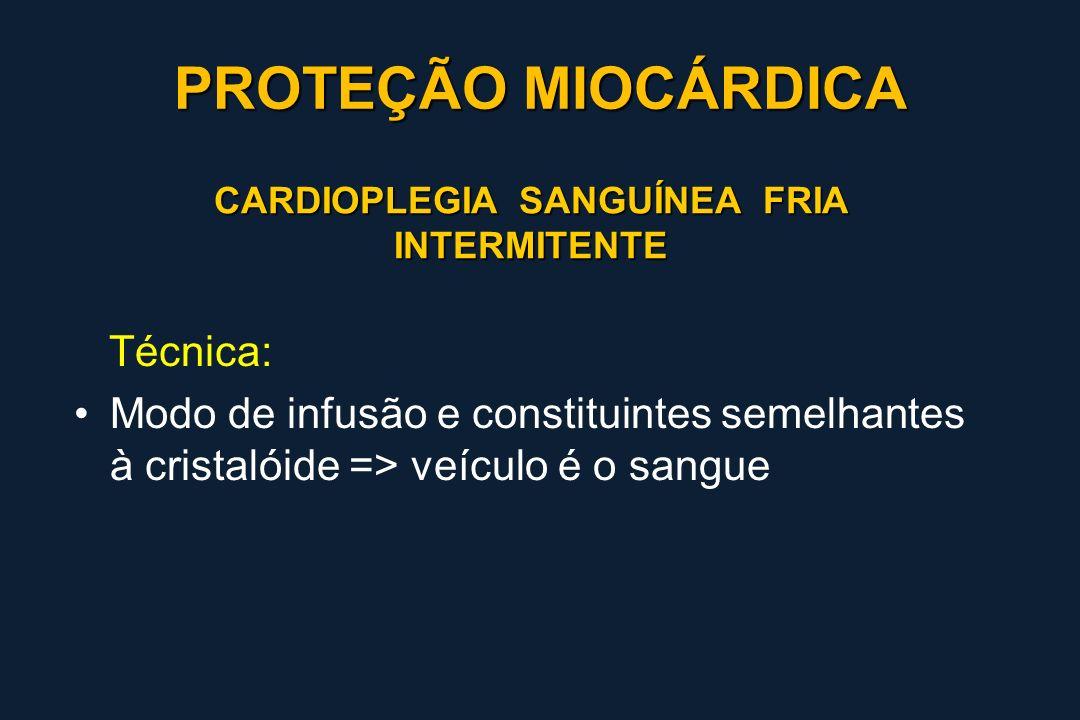CARDIOPLEGIA SANGUÍNEA FRIA INTERMITENTE Técnica: Modo de infusão e constituintes semelhantes à cristalóide => veículo é o sangue PROTEÇÃO MIOCÁRDICA