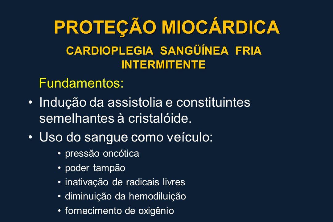 CARDIOPLEGIA SANGÜÍNEA FRIA INTERMITENTE Fundamentos: Indução da assistolia e constituintes semelhantes à cristalóide. Uso do sangue como veículo: pre