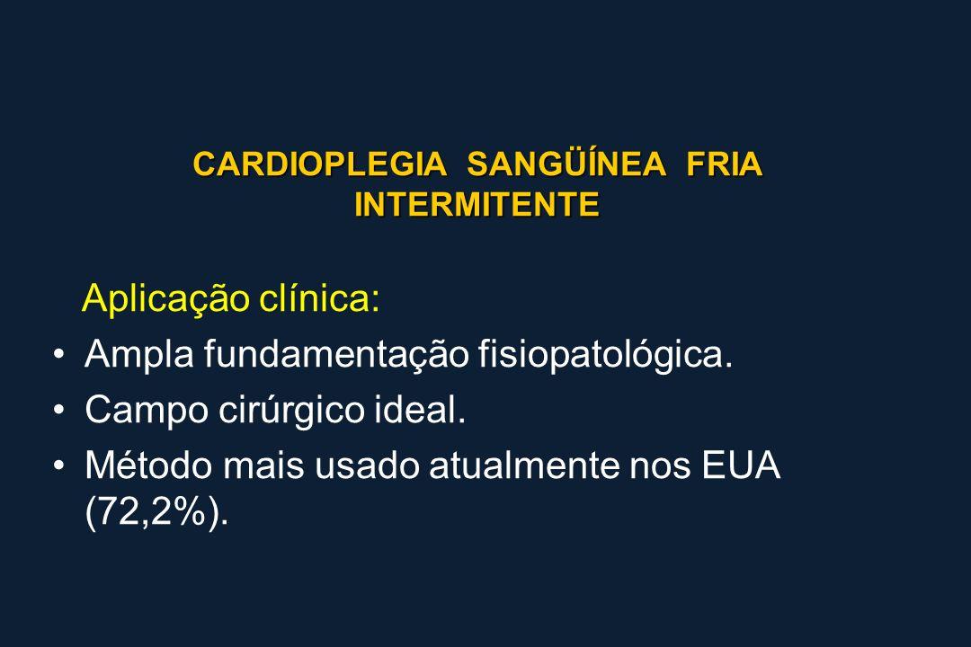 CARDIOPLEGIA SANGÜÍNEA FRIA INTERMITENTE Aplicação clínica: Ampla fundamentação fisiopatológica. Campo cirúrgico ideal. Método mais usado atualmente n